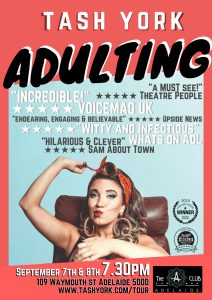 Adulting Tash York Club Adelaide